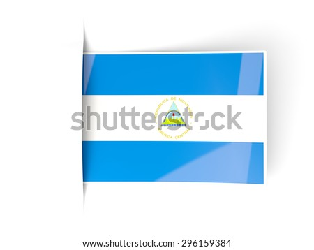 Square label with flag of nicaragua isolated on white - stock photo