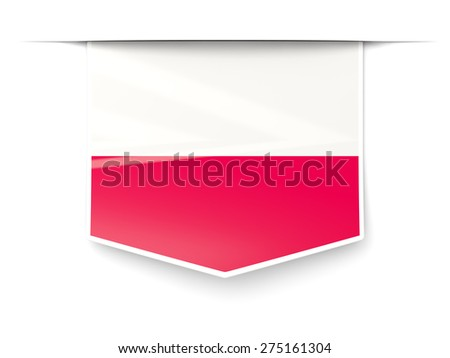 Square label with flag of poland isolated on white