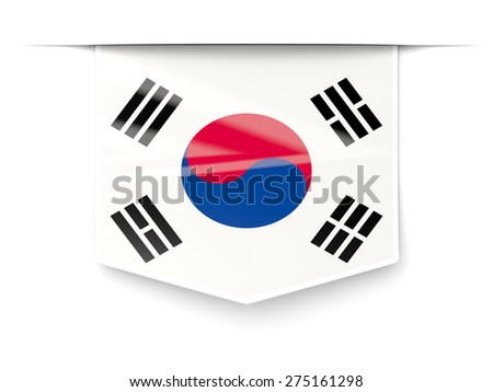 Square label with flag of south korea isolated on white - stock photo