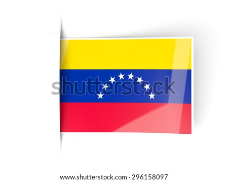 Square label with flag of venezuela isolated on white
