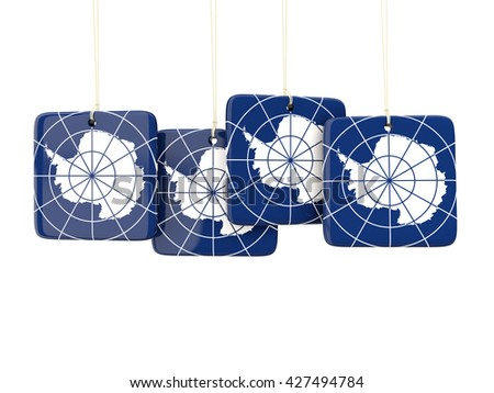Square labels with flag of antarctica. 3D illustration - stock photo
