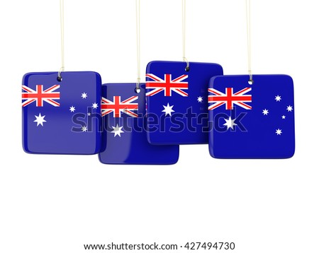 Square labels with flag of australia. 3D illustration - stock photo