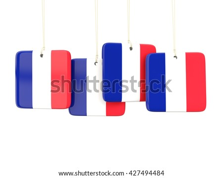 Square labels with flag of france. 3D illustration - stock photo