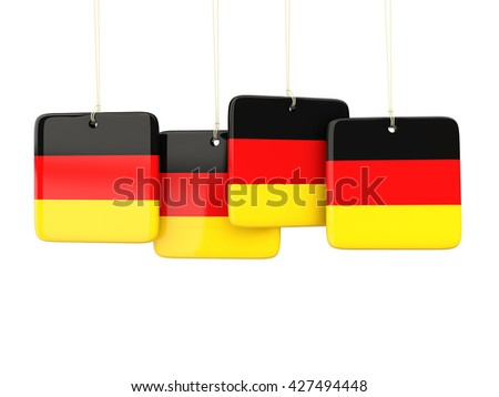 Square labels with flag of germany. 3D illustration - stock photo