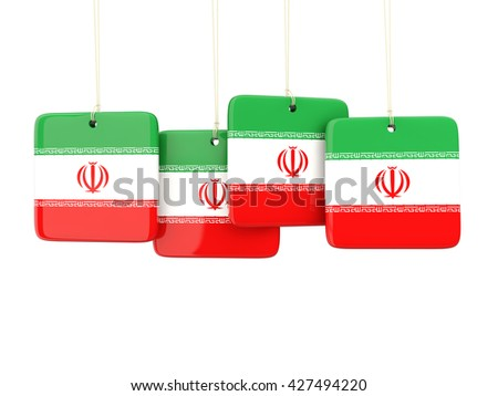Square labels with flag of iran. 3D illustration - stock photo