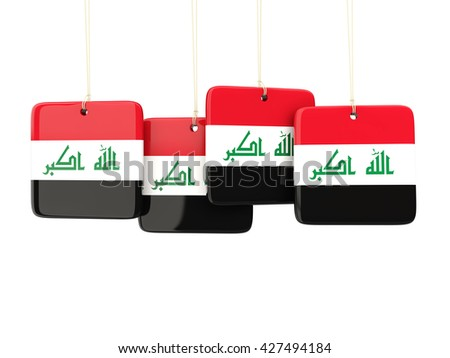 Square labels with flag of iraq. 3D illustration - stock photo