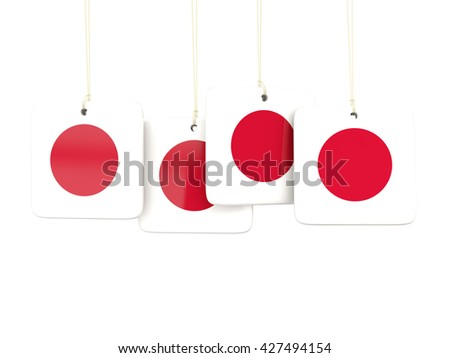 Square labels with flag of japan. 3D illustration - stock photo