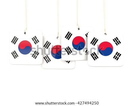 Square labels with flag of korea south. 3D illustration