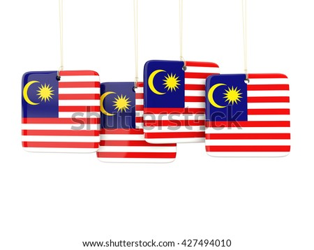 Square labels with flag of malaysia. 3D illustration - stock photo