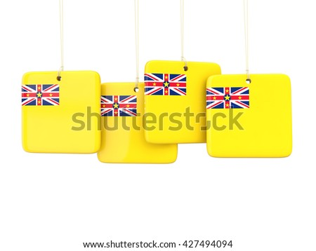Square labels with flag of niue. 3D illustration - stock photo