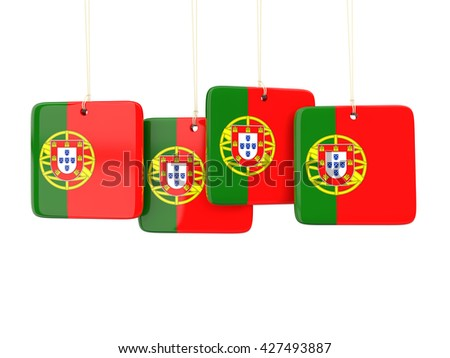 Square labels with flag of portugal. 3D illustration