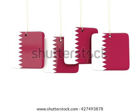 Square labels with flag of qatar. 3D illustration - stock photo