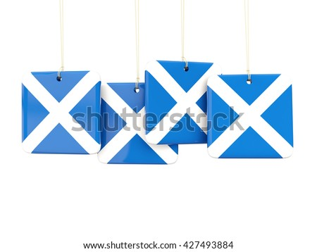 Square labels with flag of scotland. 3D illustration - stock photo