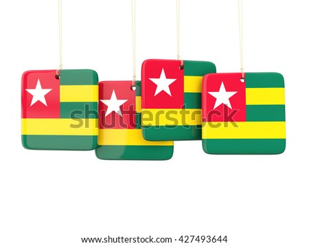 Square labels with flag of togo. 3D illustration - stock photo