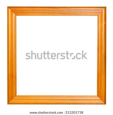 square lacquered wooden picture frame with cut out blank space isolated on white background - stock photo