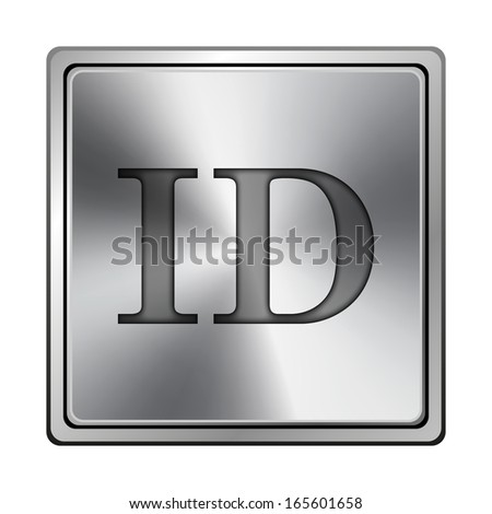 Square metallic icon with carved design on grey background