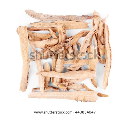 Square of calamus (Acorus calamus) on white background