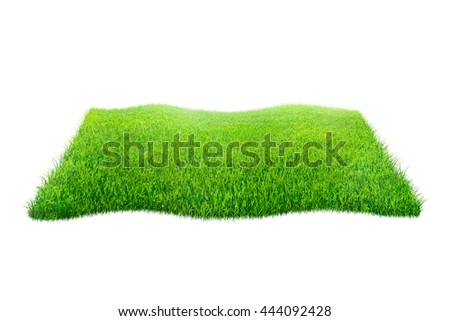Square of green grass field over blue background - stock photo