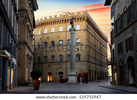 Square of Holy Trinity and Column of Justice in Florence, Italy