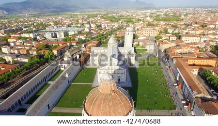 Square of Miracles in summer, Pisa. Stunning aerial view of Tuscany. - stock photo