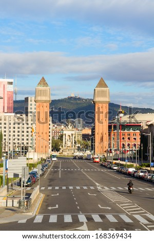 square of Spain with venetian towers, Barcelona, Spain - stock photo