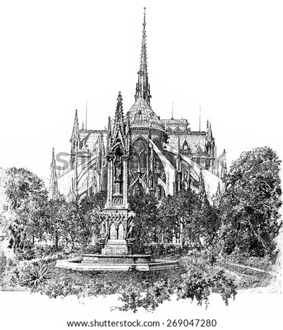 Square of the Archdiocese and apse of Notre Dame, vintage engraved illustration. Paris - August 1890. - stock photo