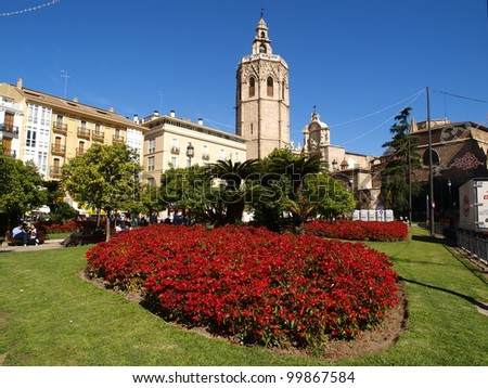 Square of the Virgin and belfry of the cathedral. Valencia. Spain - stock photo