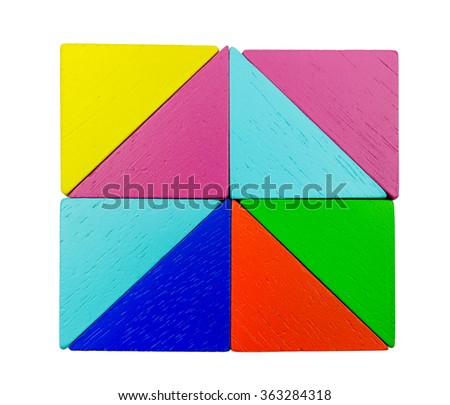 square of wood blocks on white Background