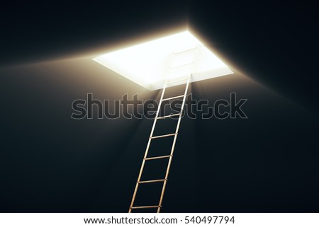Square opening in ceiling and ladder leading to it. Success concept. 3D Rendering