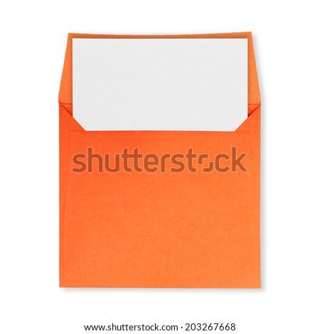 Square orange envelope open and white paper on a white background. - stock photo