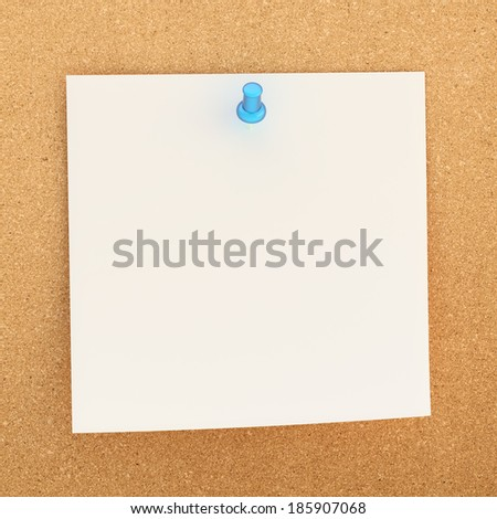 Square paper note sticked with the blue office pin to the cork board background - stock photo