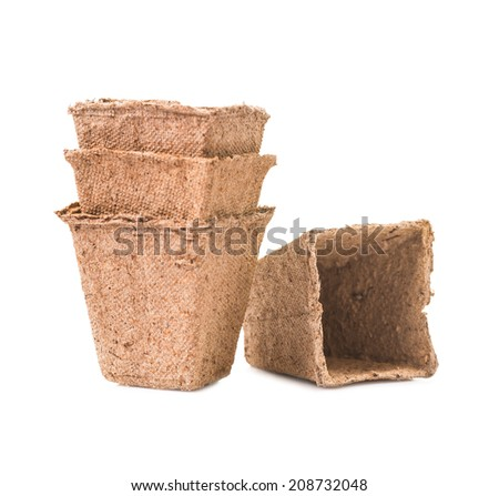 square peat pots isolated - stock photo