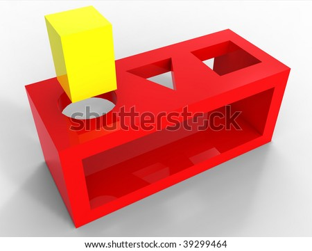 square peg round hole - stock photo