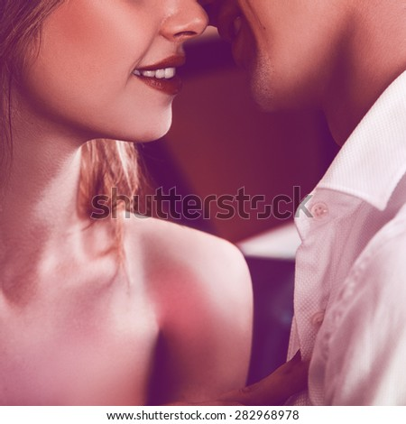 Square photo of couple kissing each others. without eyes only lips. square photo - stock photo