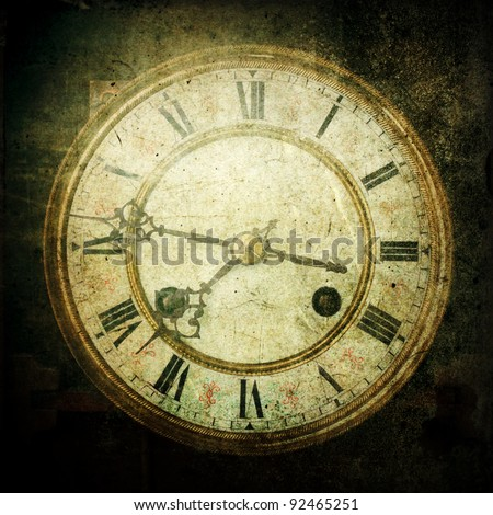 square picture of an grunge textured antique clock - stock photo
