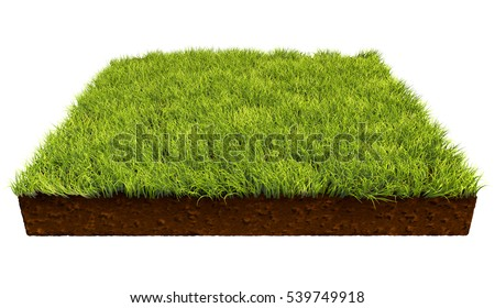 Square piece of land with green grass isolated on white background. 3D illustration.