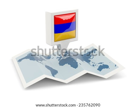 Square pin with flag of armenia on the map - stock photo