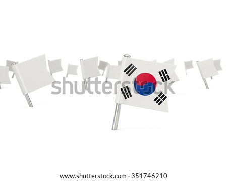 Square pin with flag of korea south isolated on white - stock photo