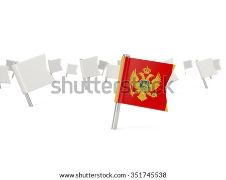 Square pin with flag of montenegro isolated on white