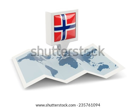 Square pin with flag of norway on the map - stock photo