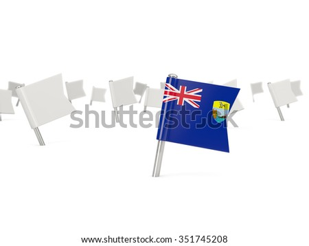 Square pin with flag of saint helena isolated on white