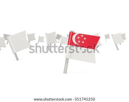Square pin with flag of singapore isolated on white - stock photo