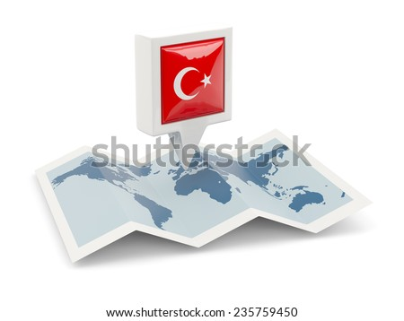 Square pin with flag of turkey on the map - stock photo