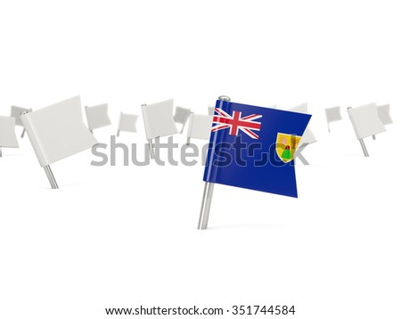 Square pin with flag of turks and caicos islands isolated on white