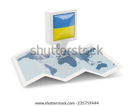 Square pin with flag of ukraine on the map - stock photo