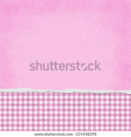 Square Pink and White Gingham Torn Grunge Textured Background with copy space at top - stock photo