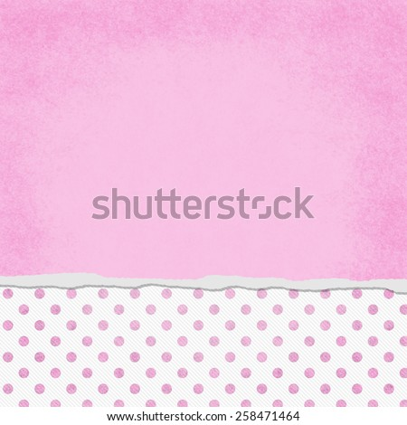 Square Pink and White Polka Dot Torn Grunge Textured Background with copy space at top - stock photo