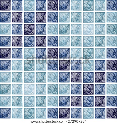 Square pixel mosaic background. Doodle style. Seamless pattern. Raster version - stock photo