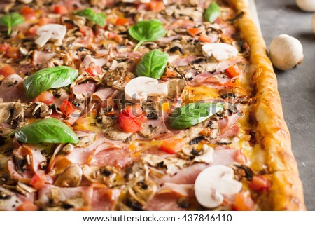 square pizza with basil tomatoes and mushrooms . Pizza on the gray table