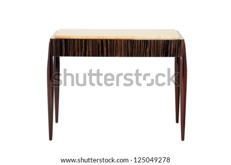 Square polished wood table isolated on white - stock photo